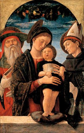 Andrea Mantegna (Isola di Carturo, vers 1431 - Mantoue, 1506) La Vierge et l'enfant entre saint Jérôme et saint Ludovic de Toulouse