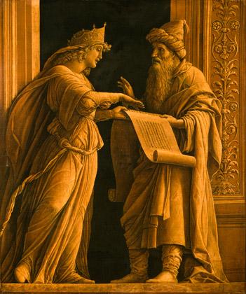 Andrea Mantegna, Deux figures (Le Prêtre Helqia et la prophétesse Hulda)