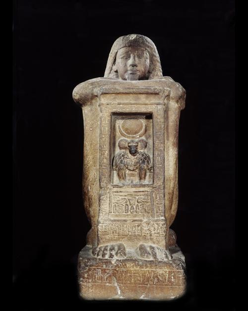 Statue cube naophore du scribe Khâ