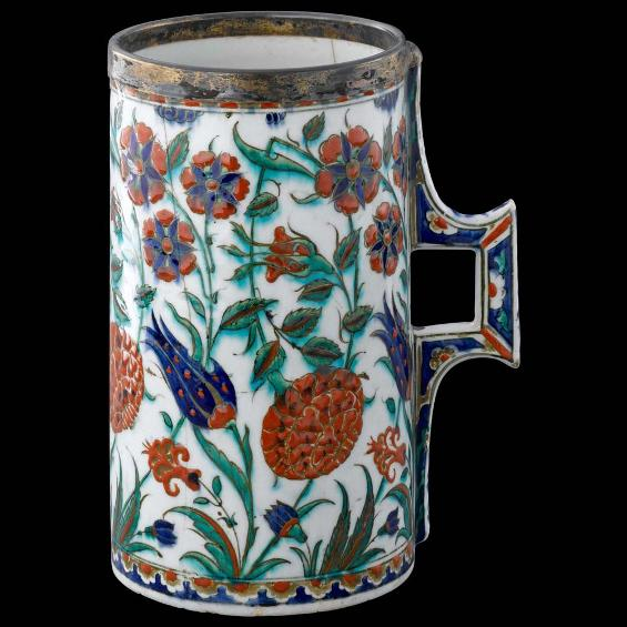 Tankard with floral decoration
